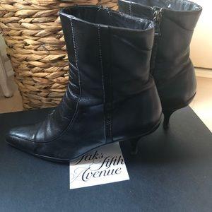 PRADA Soft Black Leather Ankle Bootie Kitten Heel